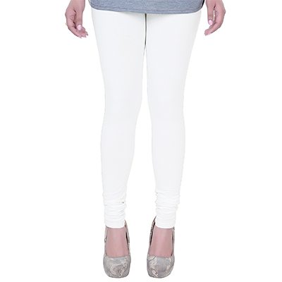 Pleasant White Colored Casual Wear Churidar Leggings