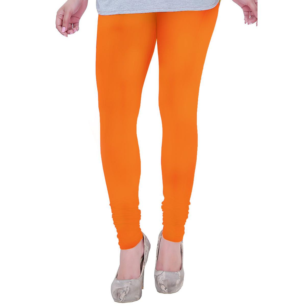 Blooming Orange Colored Casual Wear Churidar Leggings