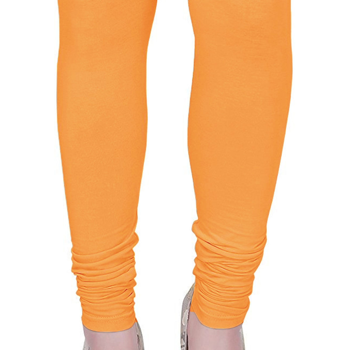 Lovely Light Orange Colored Casual Wear Churidar Leggings