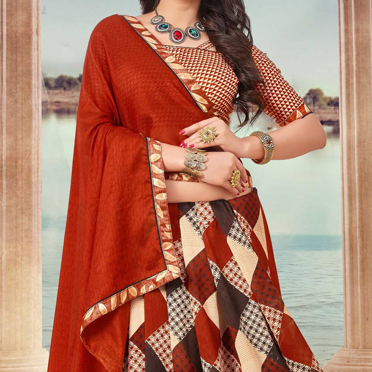 Orange And Brown Art Silk Digital Printed Fancy Saree