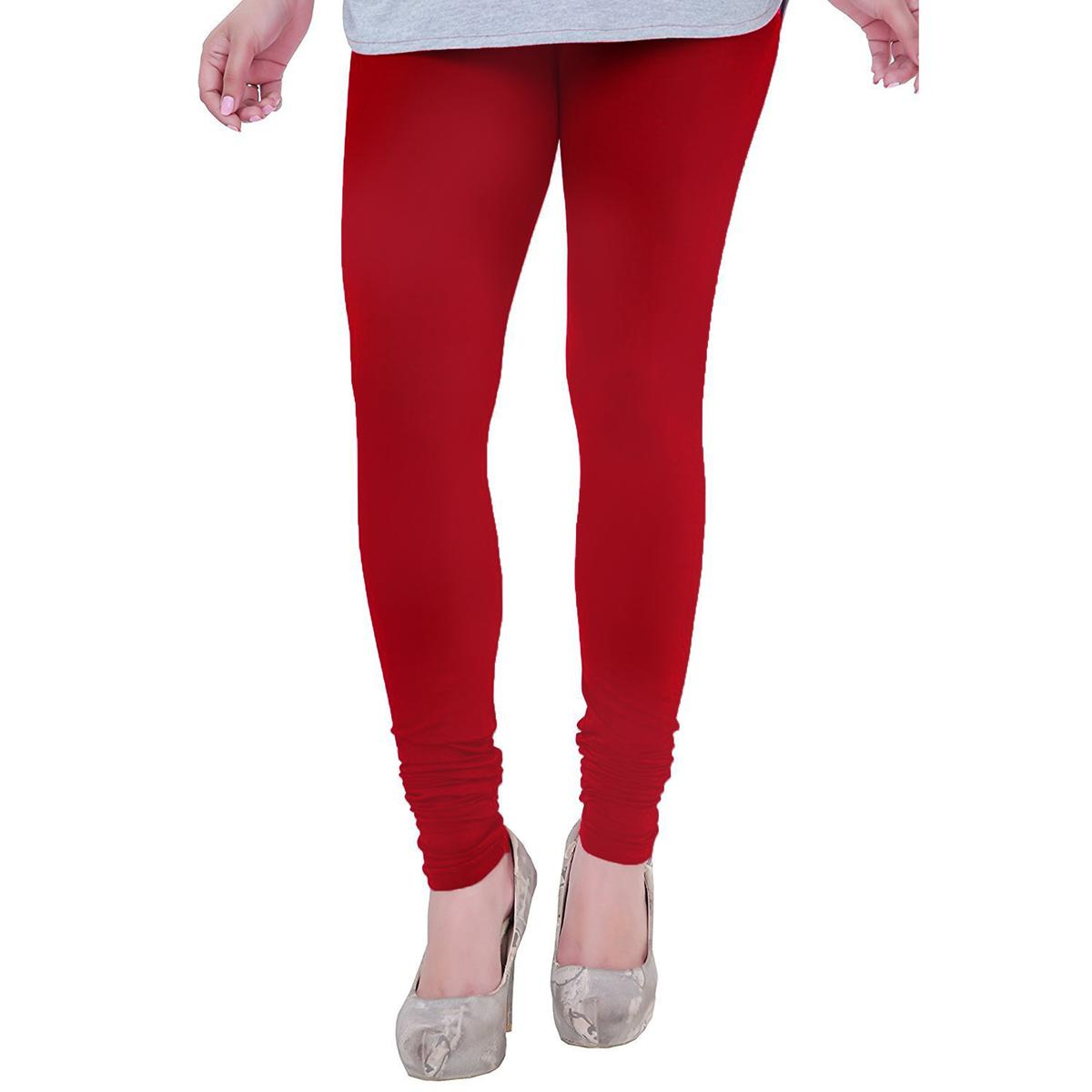 Unique Raspberry Red Colored Casual Wear Churidar Leggings