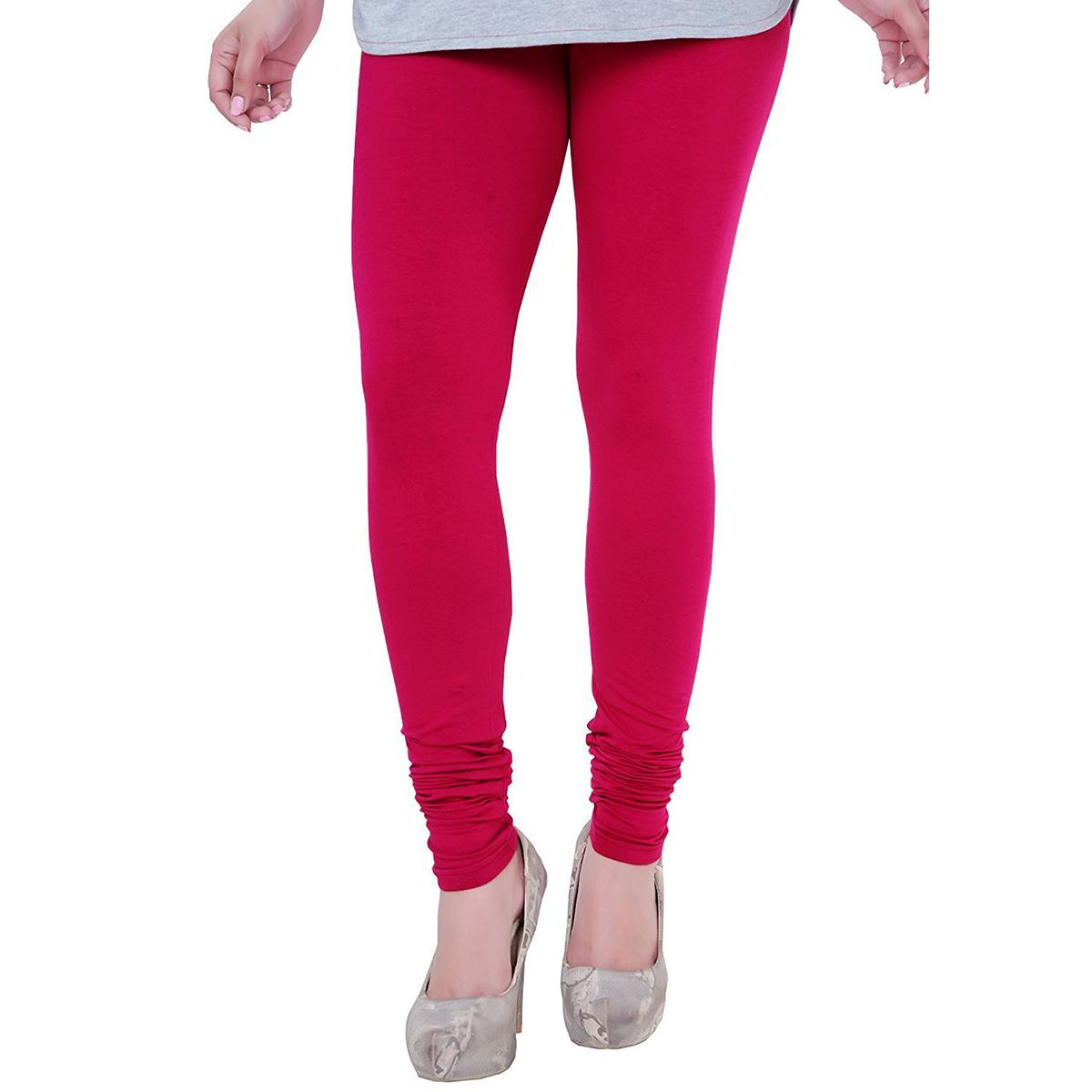 Arresting Deep Pink Colored Casual Wear Churidar Leggings