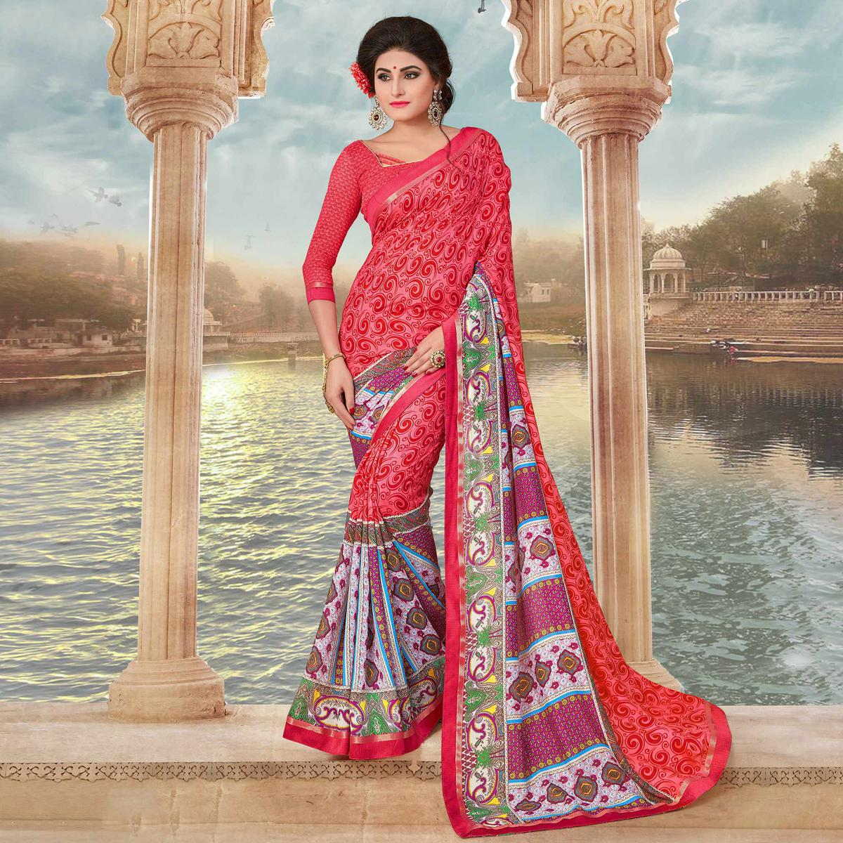 Pink Art Silk Digital Printed Fancy Saree