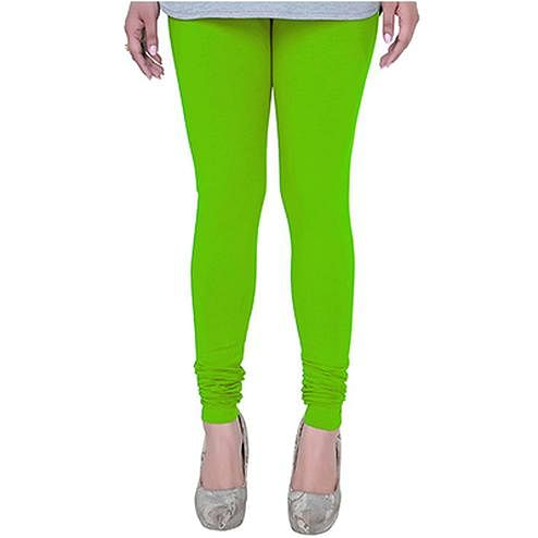 Awesome Parrot Green Colored Casual Wear Churidar Leggings