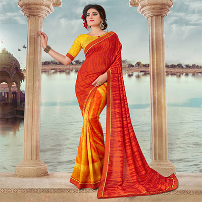 Orange And Yellow Art Silk Digital Printed Fancy Saree