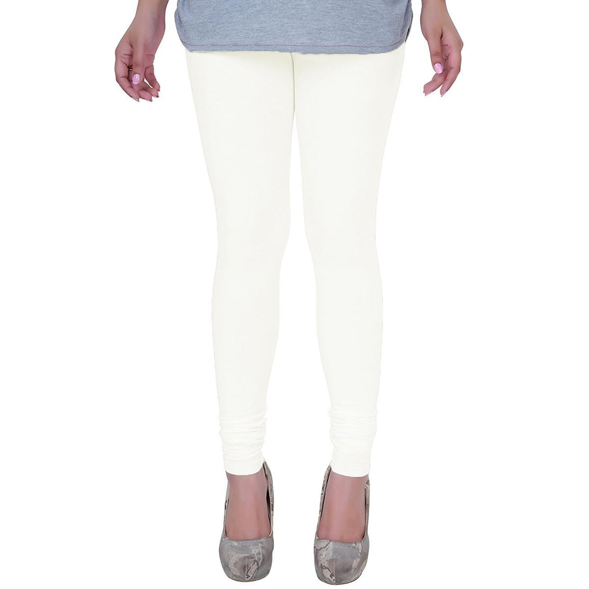 Excellent Off White Colored Casual Wear Churidar Leggings