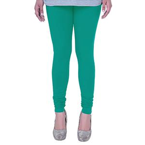 Energetic Turquoise Green Colored Casual Wear Churidar Leggings
