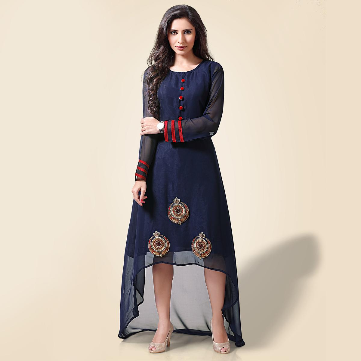 Beautiful Blue Georgette Designer Kurti