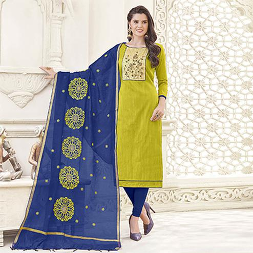 Adorning Green Colored Party Wear Banglori Silk Salwar Suit