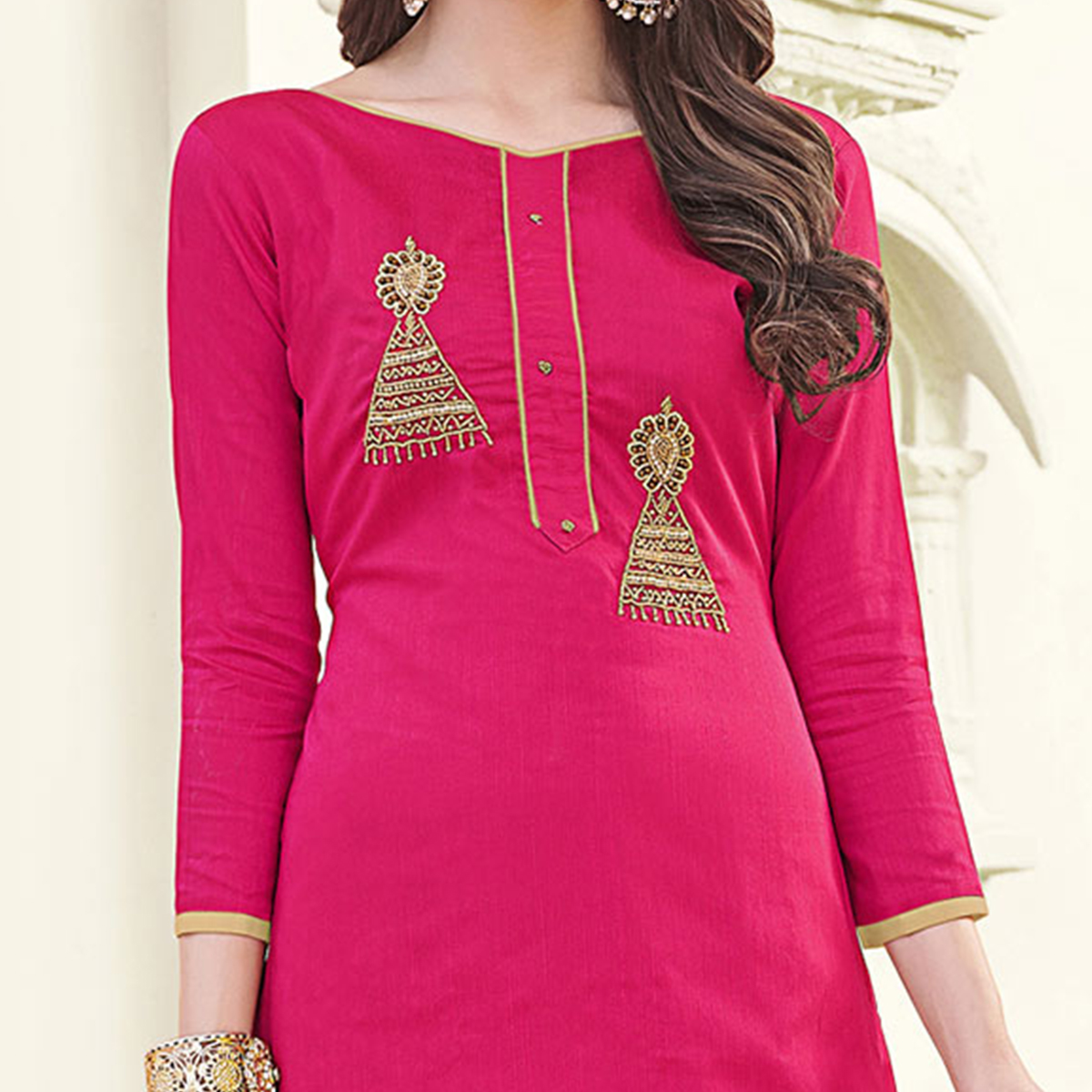 Deserving Pink Colored Party Wear Banglori Silk Salwar Suit