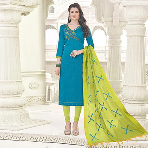 Extraordinary Blue Colored Party Wear Banglori Silk Salwar Suit
