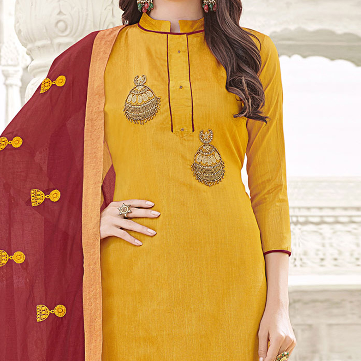 Glowing Yellow Colored Party Wear Banglori Silk Salwar Suit