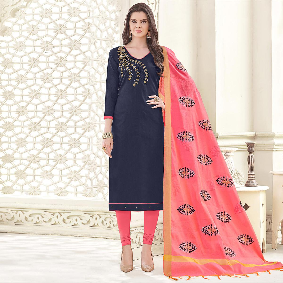 Snazzy Blue Colored Party Wear Banglori Silk Salwar Suit