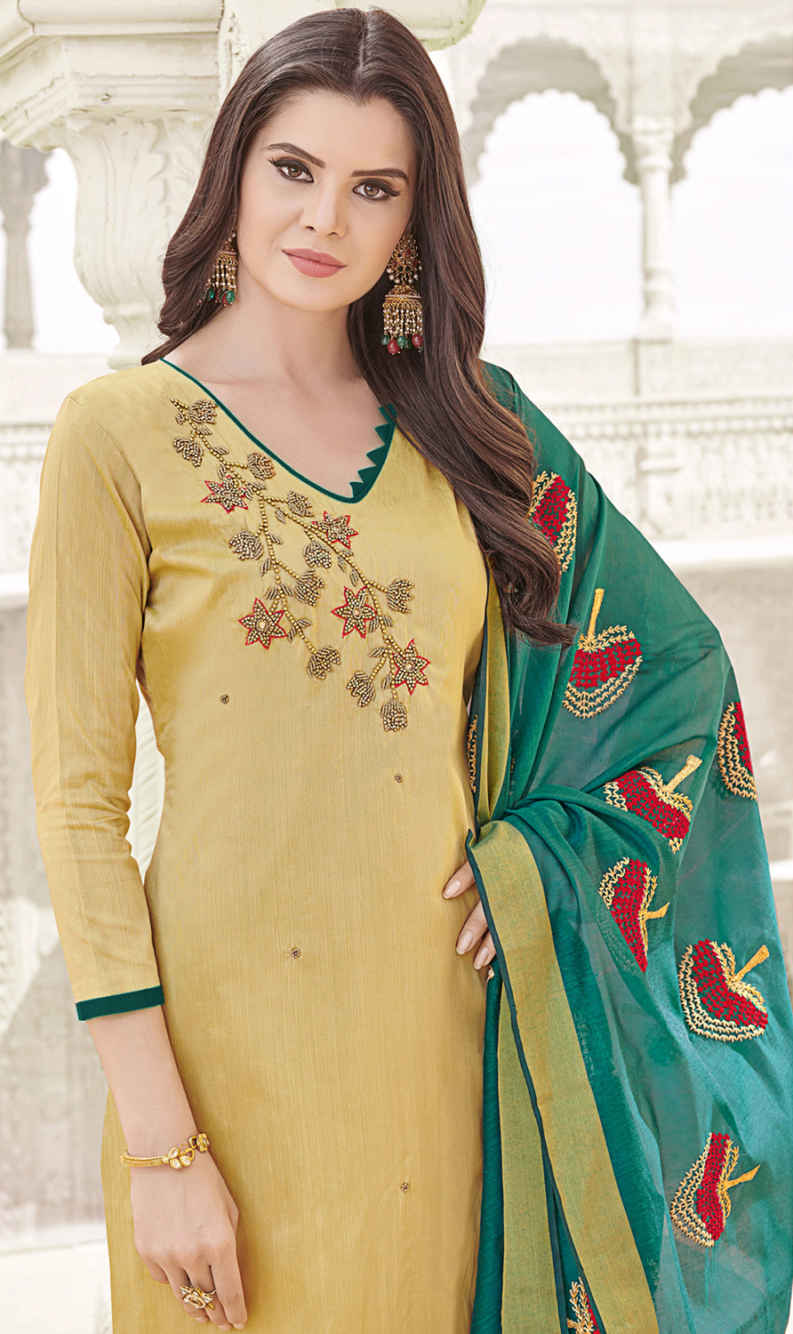 Awesome Beige Colored Party Wear Banglori Silk Salwar Suit