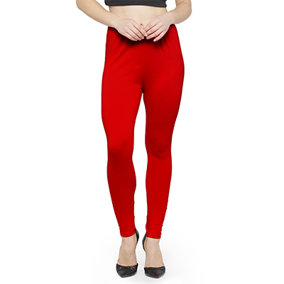 Attractive Red Colored Casual Wear Ankle Length Leggings