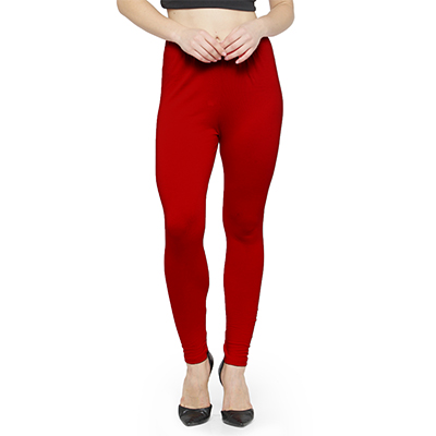 Eye-Catching Spectra Red Colored Casual Wear Ankle Length Leggings