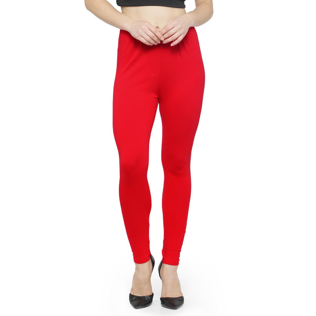 Groovy Warm Red Colored Casual Wear Ankle Length Leggings