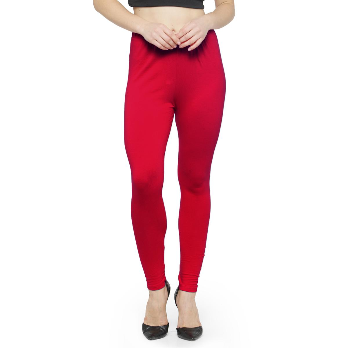 Ravishing Dark Rose Pink Colored Casual Wear Ankle Length Leggings