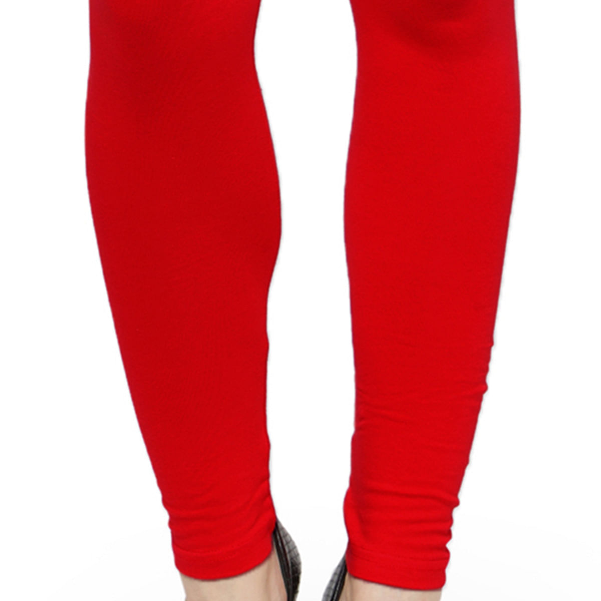 Glowing Tomato Red Colored Casual Wear Ankle Length Leggings