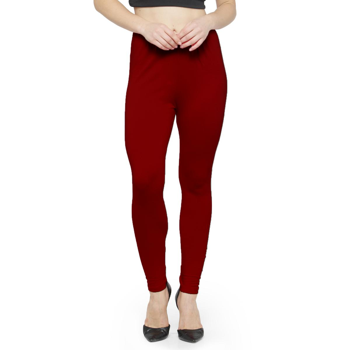 Mesmerising Blood Red Colored Casual Wear Ankle Length Leggings