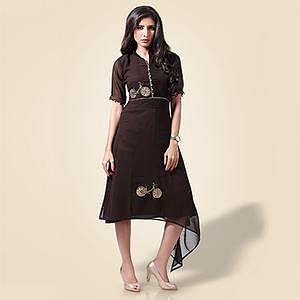 Stylish Brown Georgette Designer Partywear  Kurti