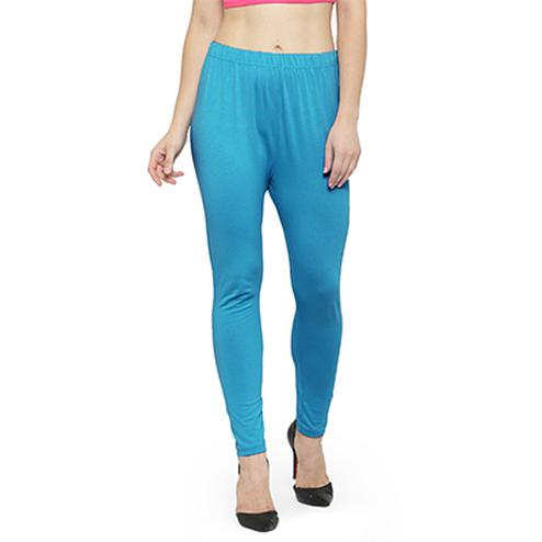 Excellent Sky Blue Colored Casual Wear Ankle Length Leggings