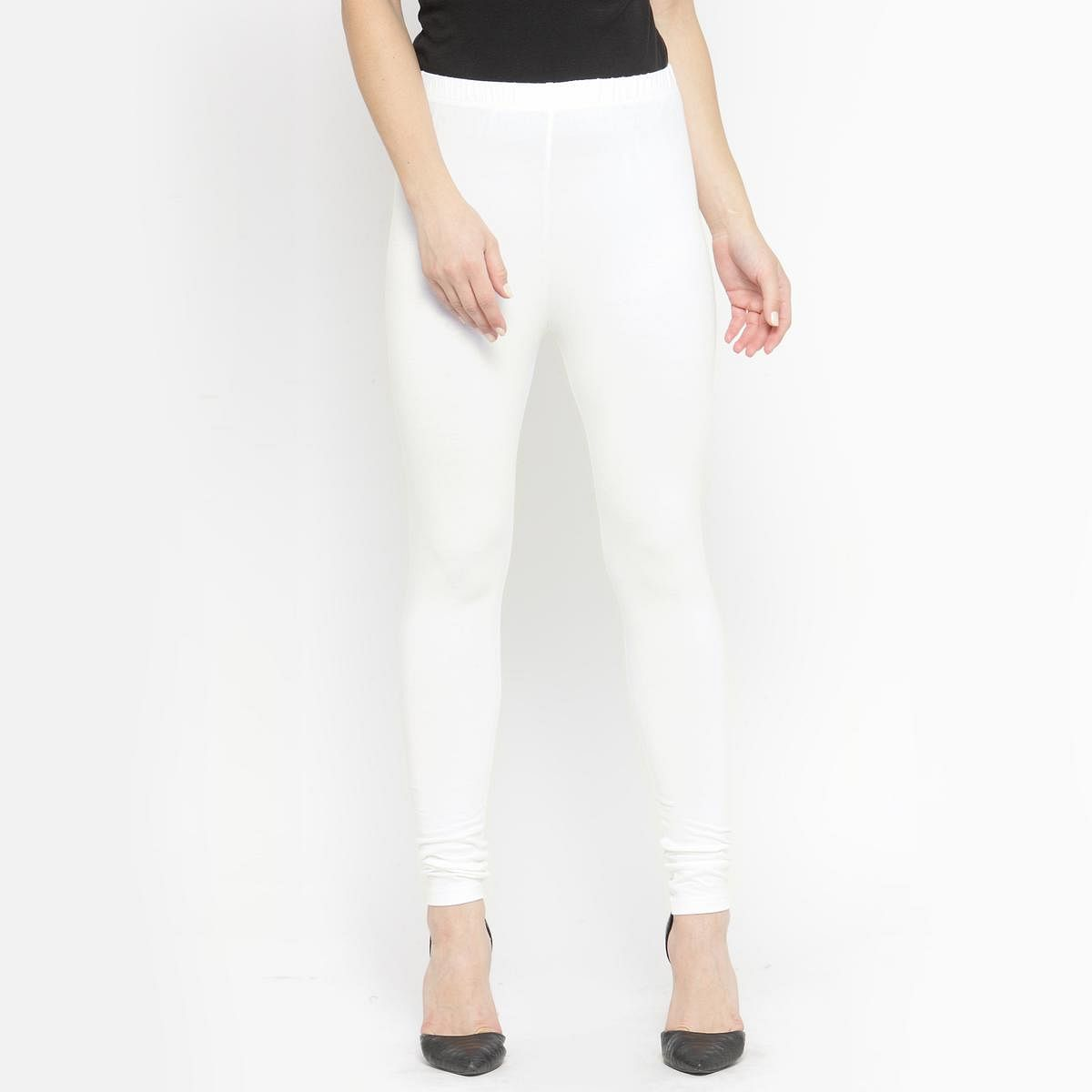 Awesome White Colored Casual Wear Ankle Length Leggings
