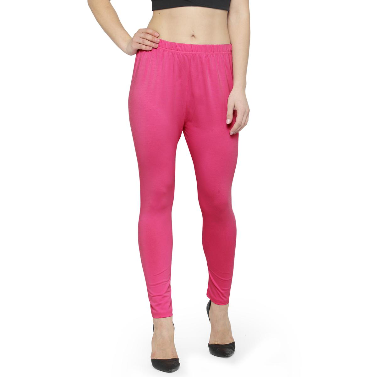 Flattering Pink Colored Casual Wear Ankle Length Leggings