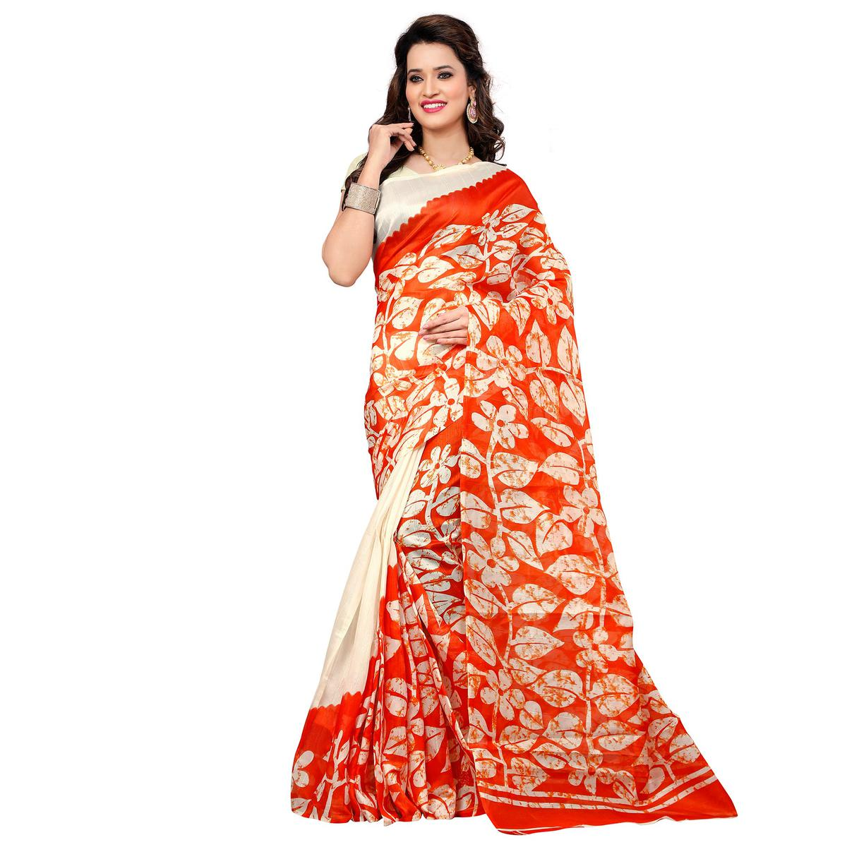 Off White - Orange Leaf Printed Saree