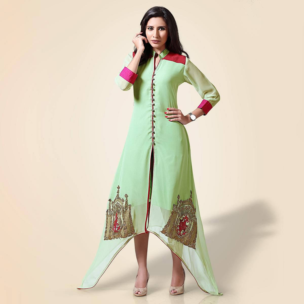 Charismatic Light Green Georgette Designer Partywear  Kurti