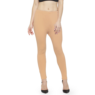 Magnetic Cream Colored Casual Wear Ankle Length Leggings