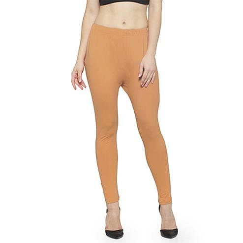 Mesmeric Brown Colored Casual Wear Ankle Length Leggings