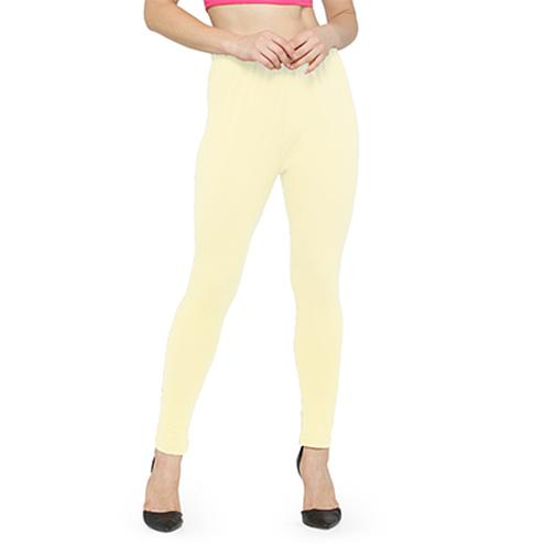Flawless Light Lemon Yellow Colored Casual Wear Ankle Length Leggings