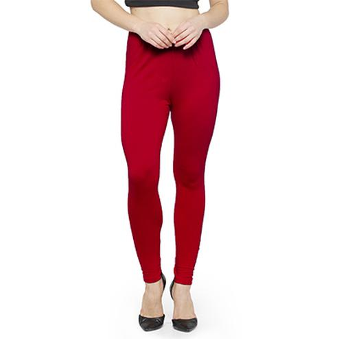 Energetic Raspberry Red Colored Casual Wear Ankle Length Leggings