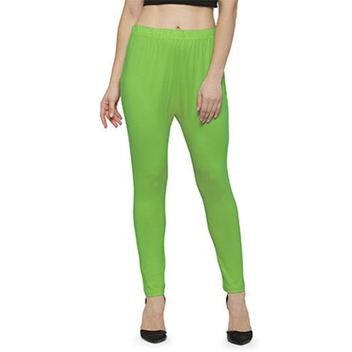 Engrossing Parrot Green Colored Casual Wear Ankle Length Leggings