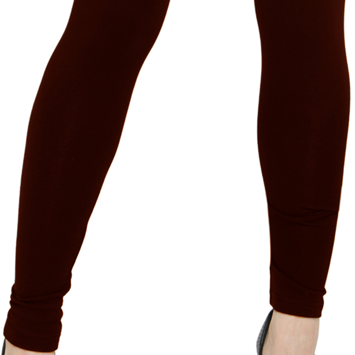 Gleaming Coffee Brown Colored Casual Wear Ankle Length Leggings