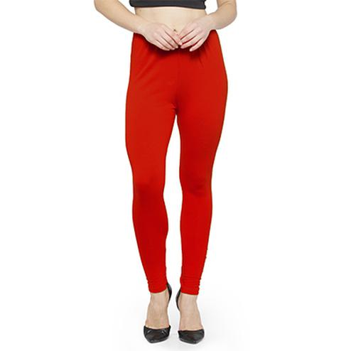 Smart Scarlet Red Colored Casual Wear Ankle Length Leggings