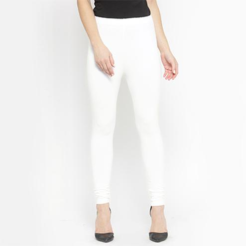 Ideal Off White Colored Casual Wear Ankle Length Leggings