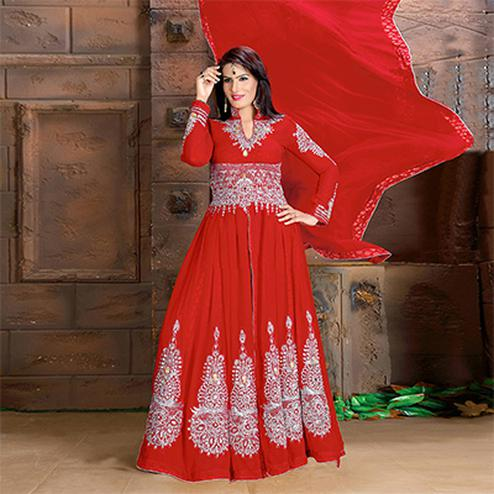 Glowing Red Colored Partywear Embroidered Georgette Lehenga Kameez