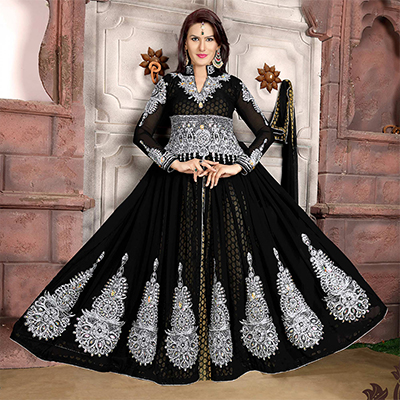 Mesmerizing Black Colored Partywear Embroidered Georgette Lehenga Kameez