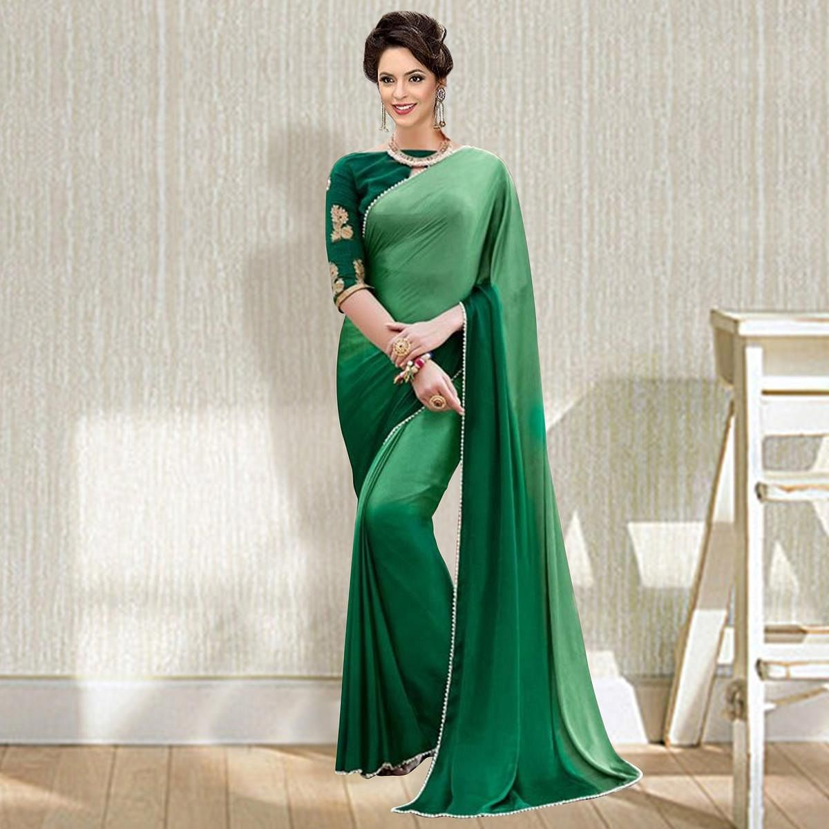 Charming Green Art Silk Designer Saree