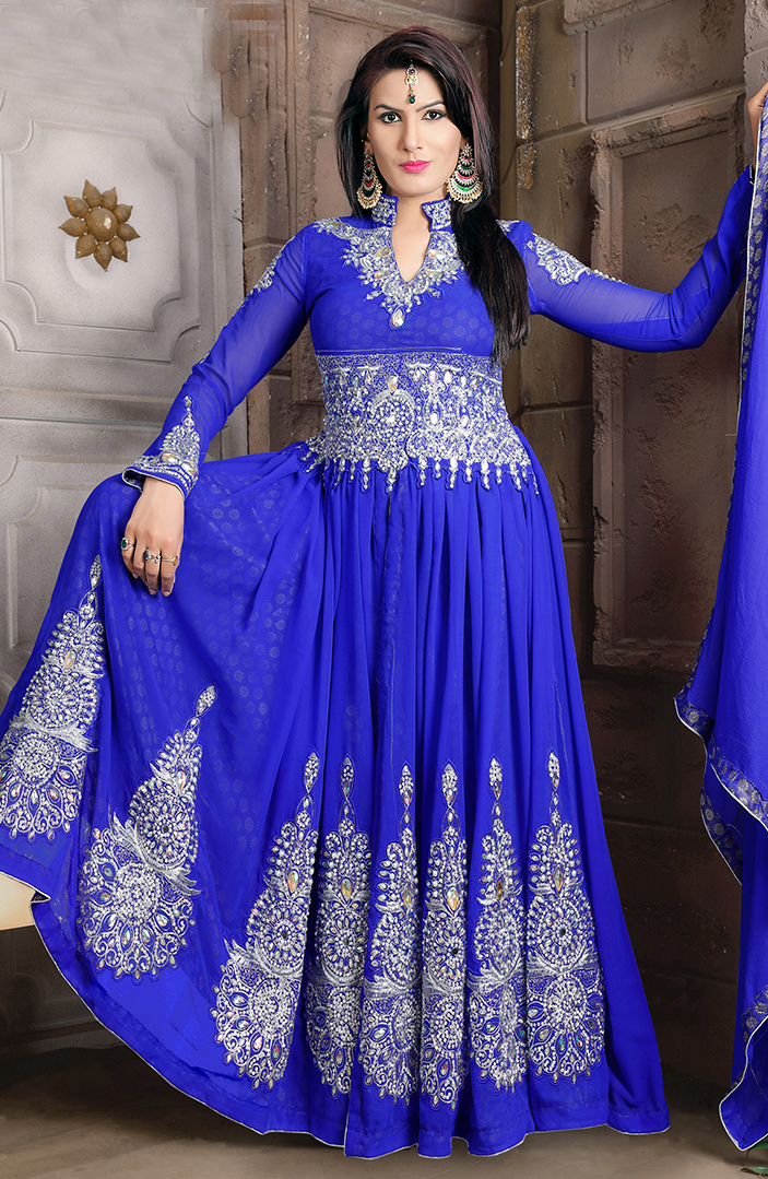 Beautiful Blue Colored Partywear Embroidered Georgette Lehenga Kameez