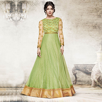 Alluring Pista Green Colored Designer Embroidered Dyed Net Suit
