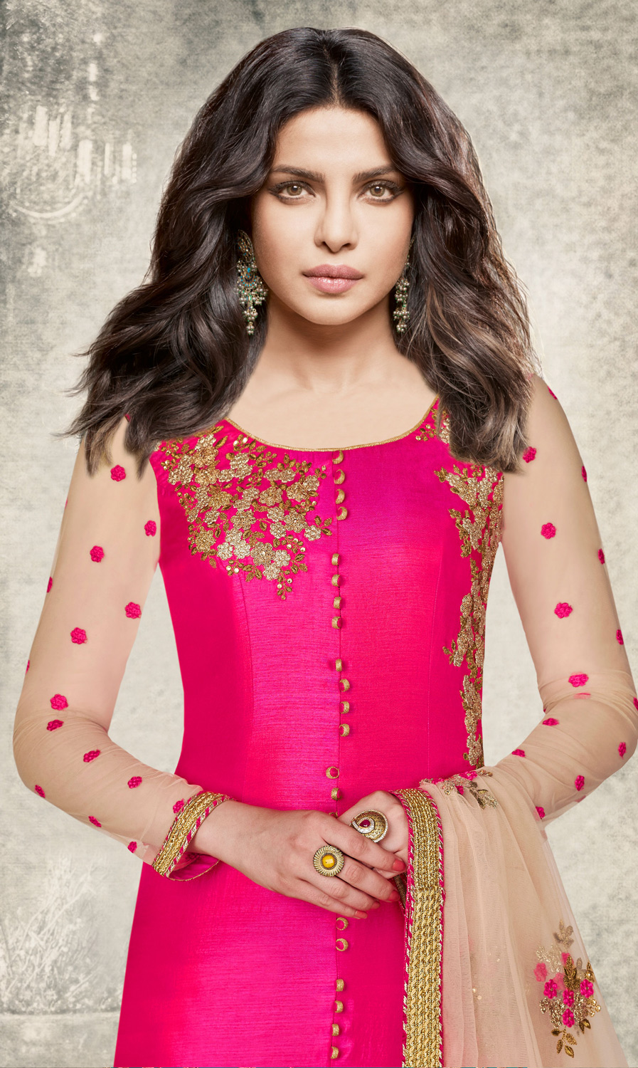 Flattering Pink Colored Designer Embroidered Dyed Silk Suit