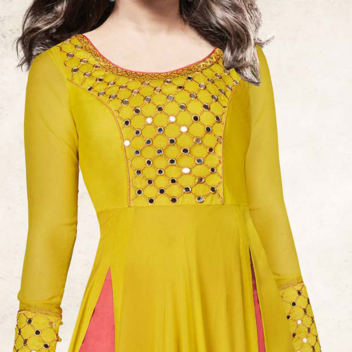 Sensational Yellow Colored Designer Embroidered Dyed Georgette Suit