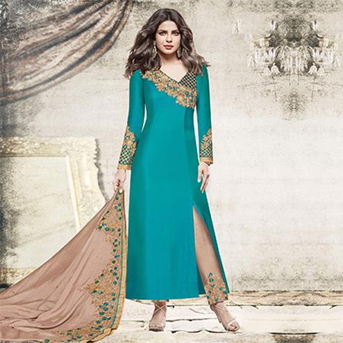 Gleaming Teal Blue Colored Designer Embroidered Dyed Satin Suit