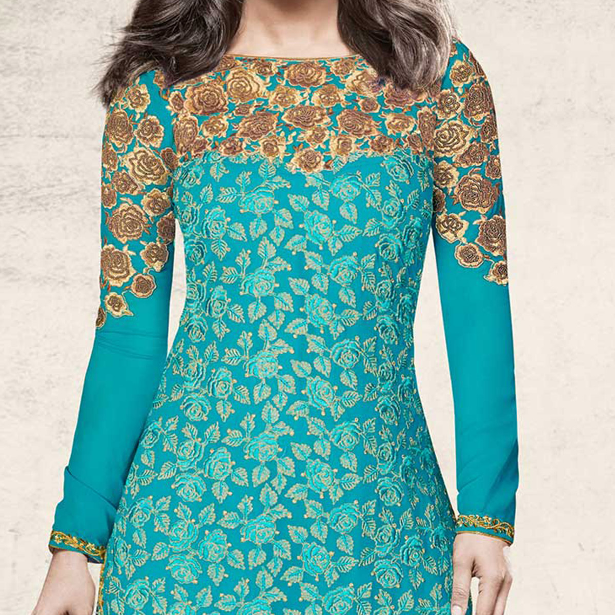 Innovative Teal Blue Colored Designer Embroidered Dyed Georgette Suit