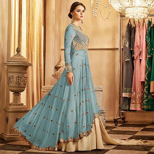 Hypnotic Light Blue Colored Partywear Designer Embroidered Lehenga Kameez