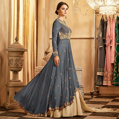 Impressive Gray Colored Partywear Designer Embroidered Lehenga Kameez