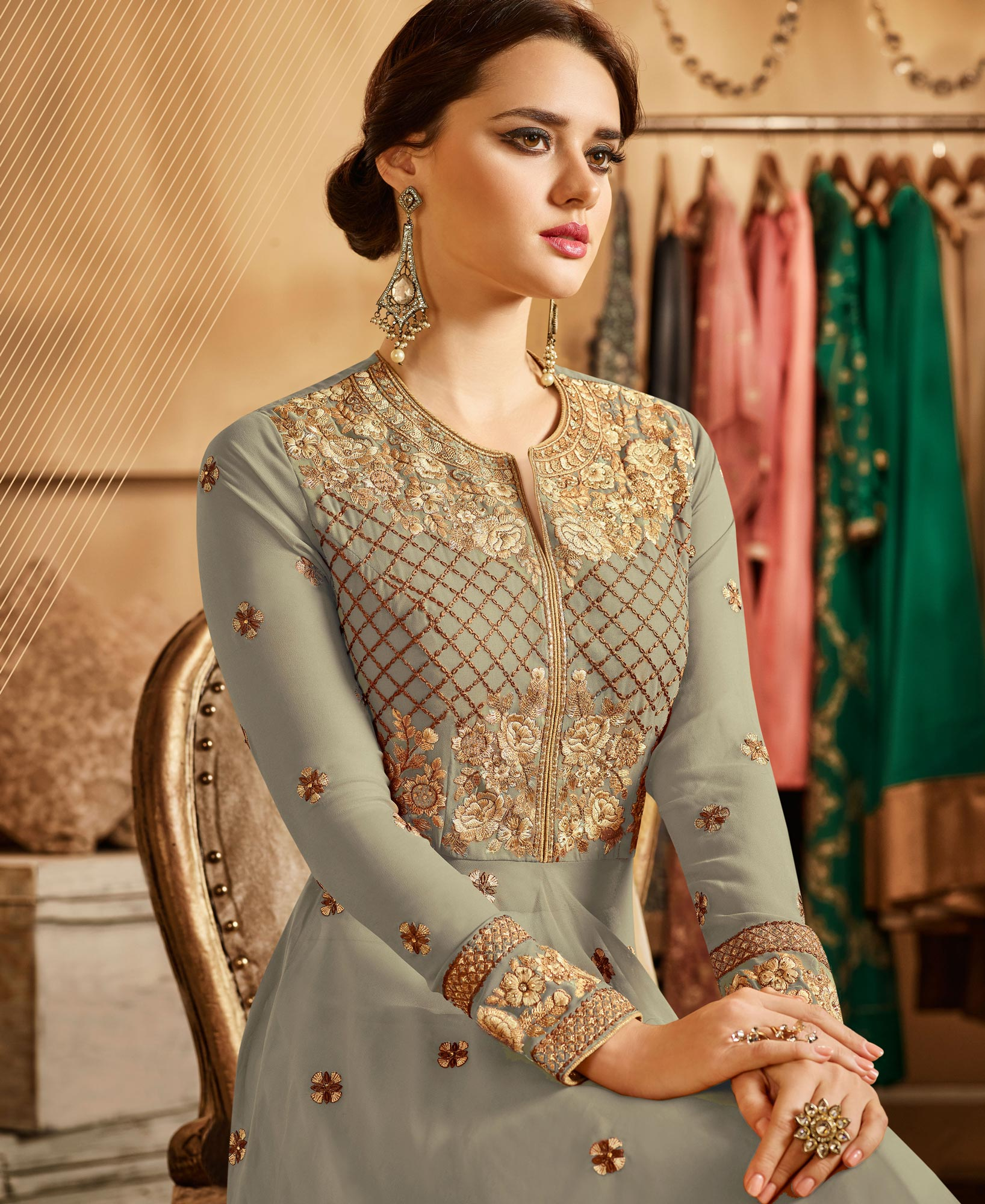 Demanding Light Gray Colored Partywear Designer Embroidered Lehenga Kameez